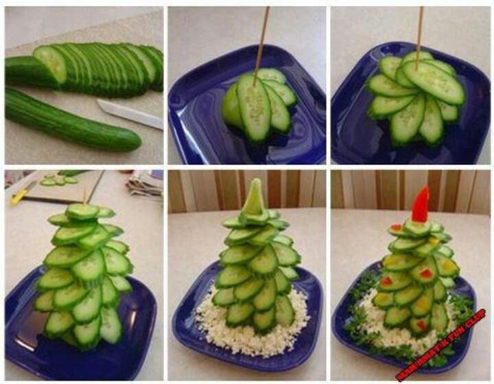 Leuk zo'n kerstboom van komkommer!