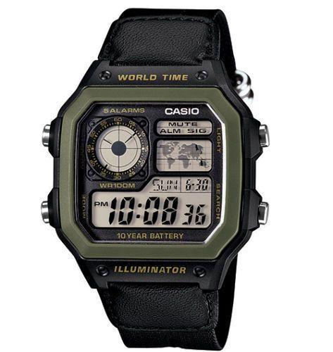 CASIO Digitaluhr AE-1200WHB-1B  World Time Illuminator Digital Watch DE