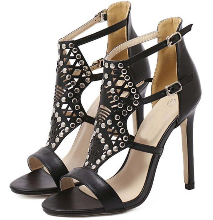 New Women's Party Black Crystal Shoes High Slim Rivets Strappy Sandals Shoes #Unbranded #Sandals #Party