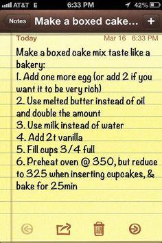Box Cake Mixes on Pinterest | Cake Mix Recipes, Boxed Cake Recipes make cake taste like bakery cake<br />