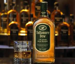 Ah, Tullamore Dew (Irish True!). Wonderful sweet whiskey. Really quite tasty and available almost anywhere.