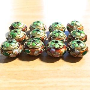 Cloisonne Lantern, Copper with Avocado Flower - 13x9mm, 12 pcs