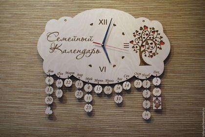 Часы для дома ручной работы. Ярмарка Мастеров - ручная работа. Купить Семейный Календарь Часы. Handmade. Ярко-красный, золотистый