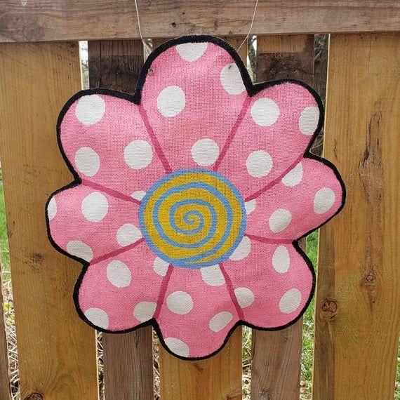 Daisy Welcome Burlap Door Hanger