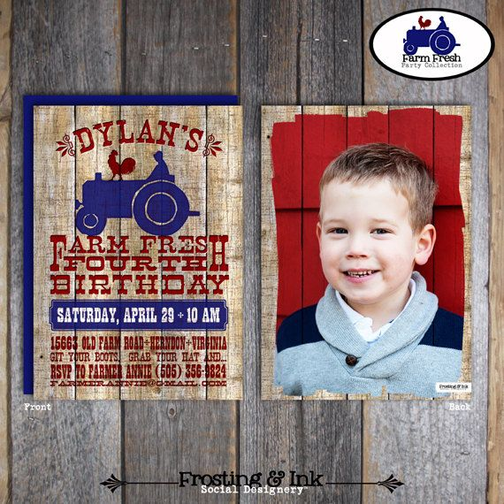Farm Party  Barnyard Birthday Party  Invitation par frostingandink