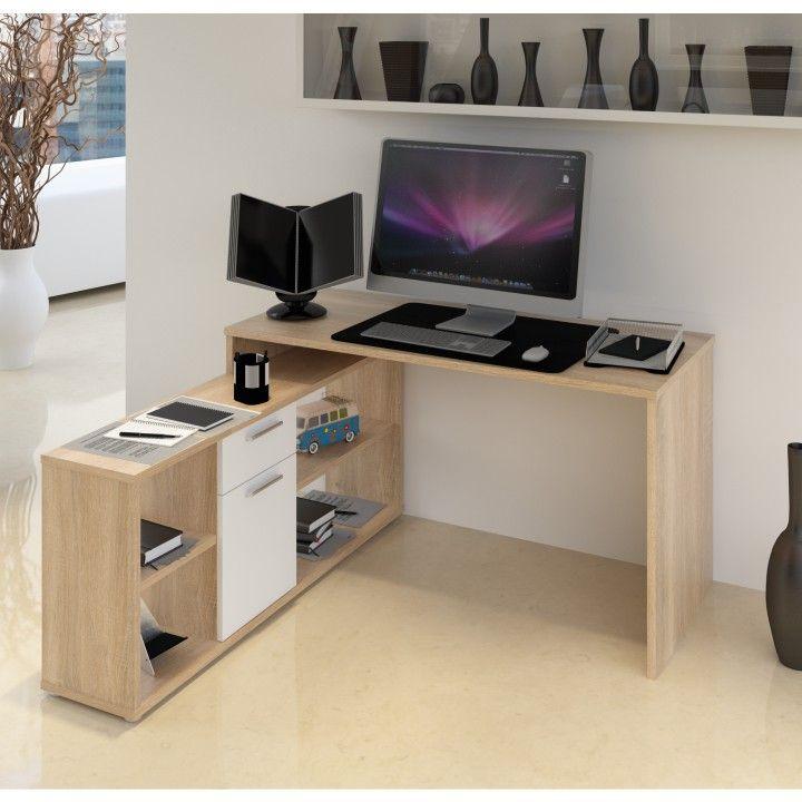 NOE NEW sonoma tölgyfa/fehér PC asztal Torres