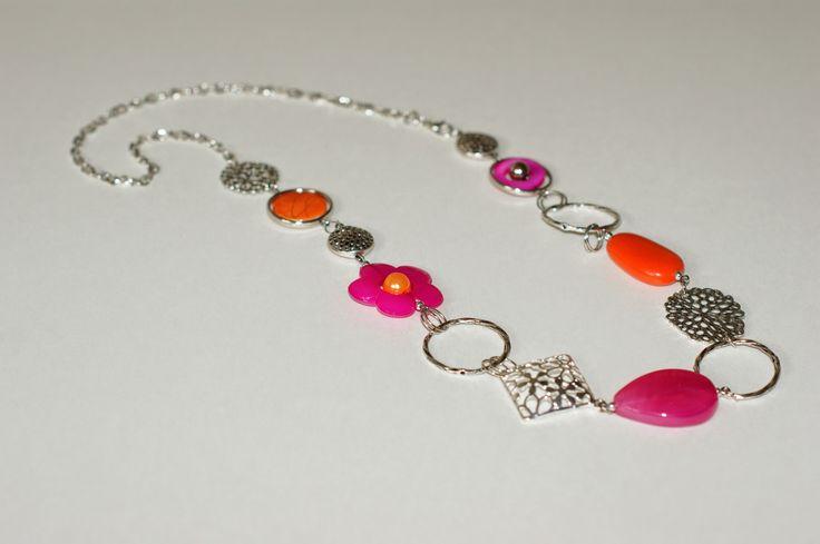 """Sautoir rose fuchsia et orange"", ""Tendance mode"", ""Collier mi-long"", : Collier par bijouxlibellule"