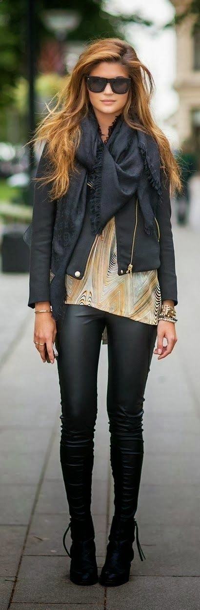 Latest Fashion Trends 2015. Leather looking leggings and light black jacket are very attractive combination.