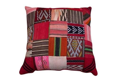 Sit on the floor in style with this large, Moroccan carpet cushion. This was made out of original, vintage, Moroccan kilims. Every patch was carefully selected and hand sewn. Available at Maryam Montague's online Souk!