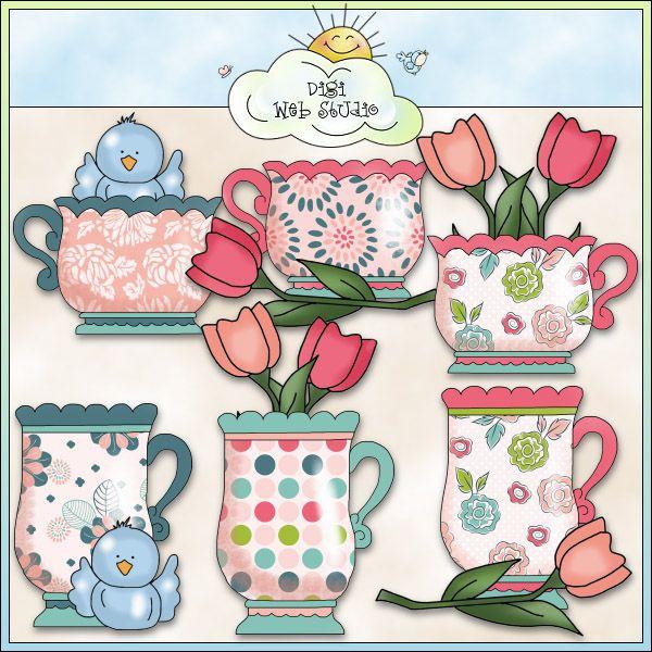 Grandma's Garden Paradise Teacups 1 - NE Cheryl Seslar Clip Art : Digi Web Studio, Clip Art, Printable Crafts & Digital Scrapbooking!