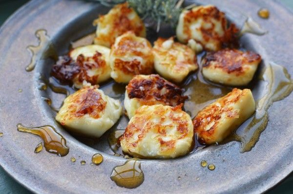 Sauteed Halloumi drizzled with honey. yez plez