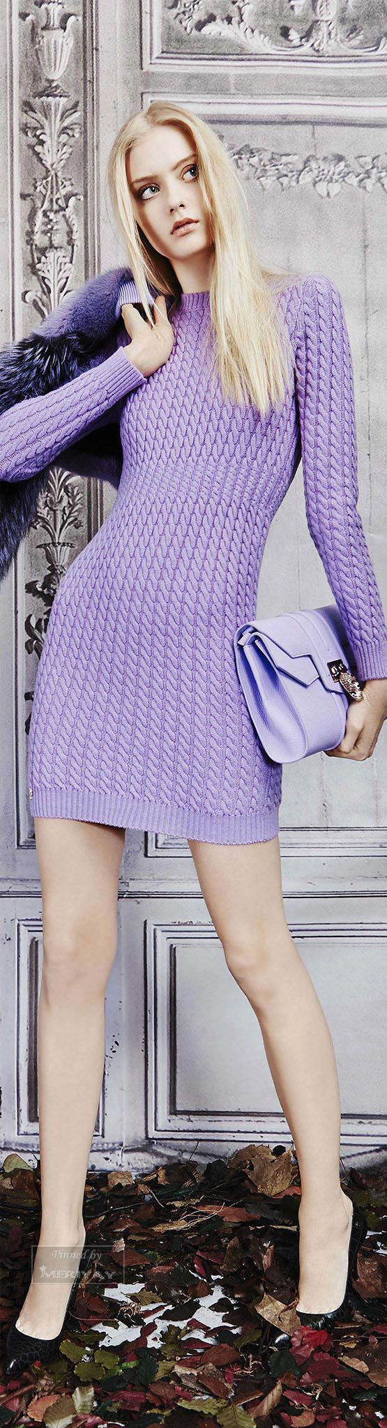 Philipp Plein ~ Lavender Long Sleeve Knit Mini Dress, Pre-Fall 2015.