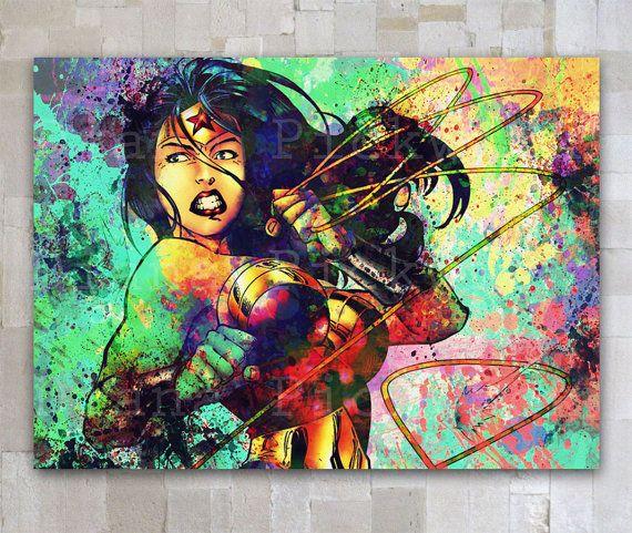 Superhero Justice League watercolor digital poster by GOLDIDI