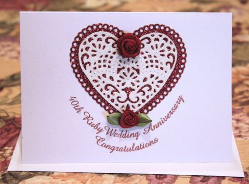 40th Ruby Wedding Anniversary Sparkling by CardsbyCoralJean