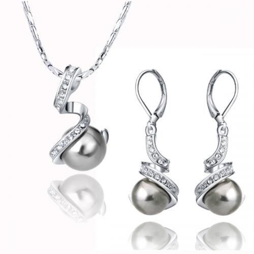 Unique Black Pearl Set 18K White Gold Plated Austrian crystal Black Pearl Set