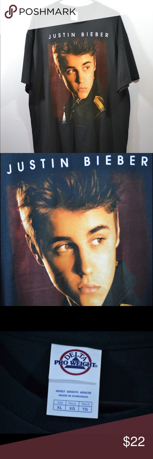 """Justin Bieber Believe Tour 2012 XL T Shirt Justin Bieber Believe Tour 2012 XL T Shirt. Great condition. Measured in inches. Chest:23"""",Length:30.5"""",Sleeve:9"""" Shirts Tees - Short Sleeve"""