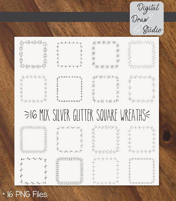 16 Siver Glitter Square Wreaths Clip Art  Square Hand Drawn