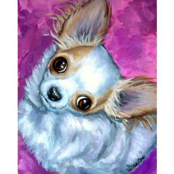 Chihuahua Dog Art 8X10 or 11x14 Print Chichi by DottieDracos, $12.00
