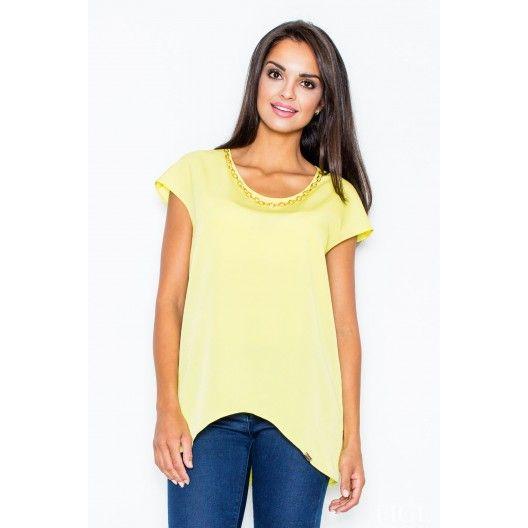 Žlté dámske blúzky s krátkym rukávom - fashionday.eu