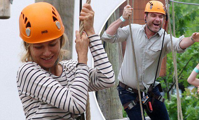 Liev Schreiber hangs 100 feet above ground with Naomi Watts