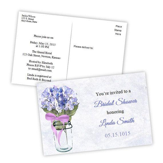 Bridal Shower Postcard Invitation - Country Hydrangea in a Mason Jar - DIY Printable Template 4x6 - Instant Download - Microsoft Word Format