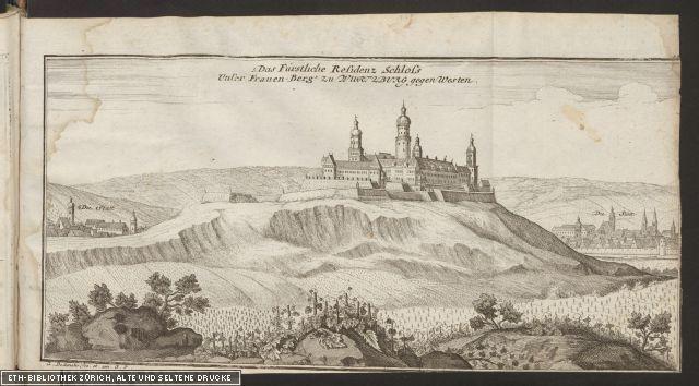 Das Fürstliche Residenz Schloss unser Frauen-Berg zu Wuertzburg gegen Westen;  Rar 9186