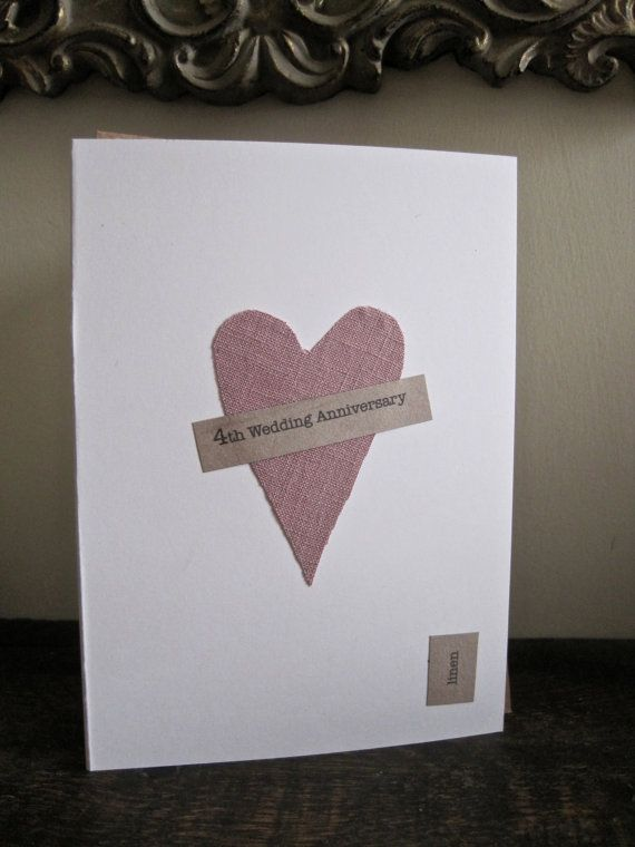 4th Wedding Anniversary Keepsake Card LINEN By ArtBySeezal On Etsy GBP350