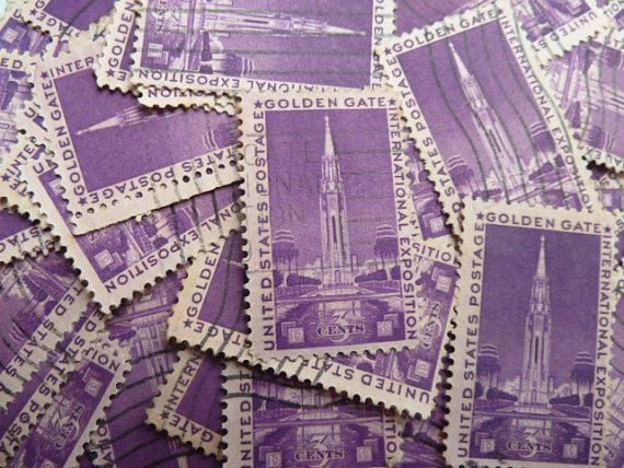 Purple Stamps   Lot of 100 Vintage US Purple by StampsForCrafts #SPSTeam