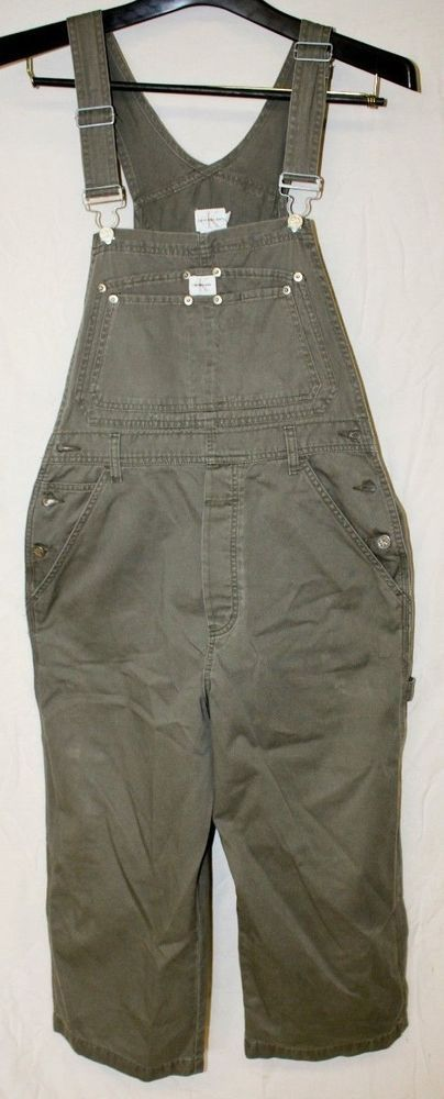CALVIN KLEIN Women's Jeans Cargo Overalls Jumper Bib Pants Capri Size M #CalvinKlein #Overalls