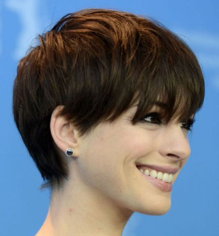 Hairstyles Long Pixie With Side Swept Bangs With Thick Straight