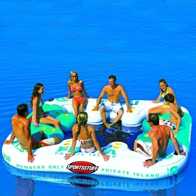 fiesta inflatable lake island for 8 people....complete with cupholders...would be soo much fun!