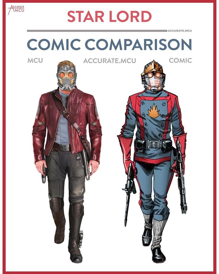 "3,660 Likes, 25 Comments - • Accurate.MCU • mcu fanpage (@accurate.mcu) on Instagram: ""• STAR LORD - COMIC COMPARISON • Star lords MCU costume became more iconic as his comic one. I…"""