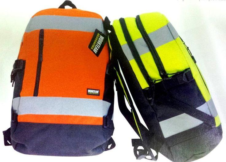 Zaino alta visibilità giallo fluo arancio fluorescente con bande High Visibility