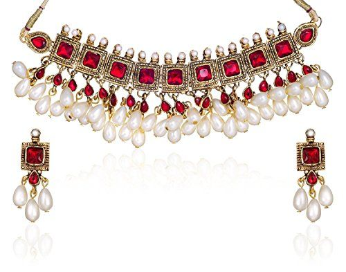 Dazzling Red Stone Gold Plated Indian Bollywood White Pea... https://www.amazon.com/dp/B01N17J7ER/ref=cm_sw_r_pi_dp_x_zZYvzbS8D81MF