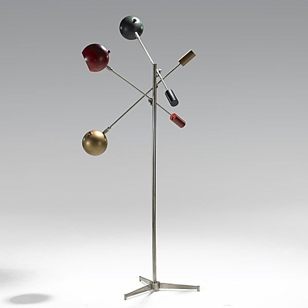 Angelo Lelli Enameled Steel And Nickeled Brass Floor Lamp For Arredoluce 1950s