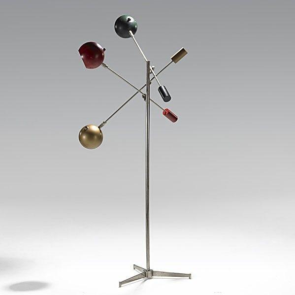 Angelo Lelli Enameled Steel And Nickeled Brass Floor Lamp For Arredoluce 1950s
