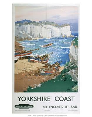 Yorkshire Coast Boats in the Bay Vintage Print Poster Art Seaside Holiday Retro | eBay