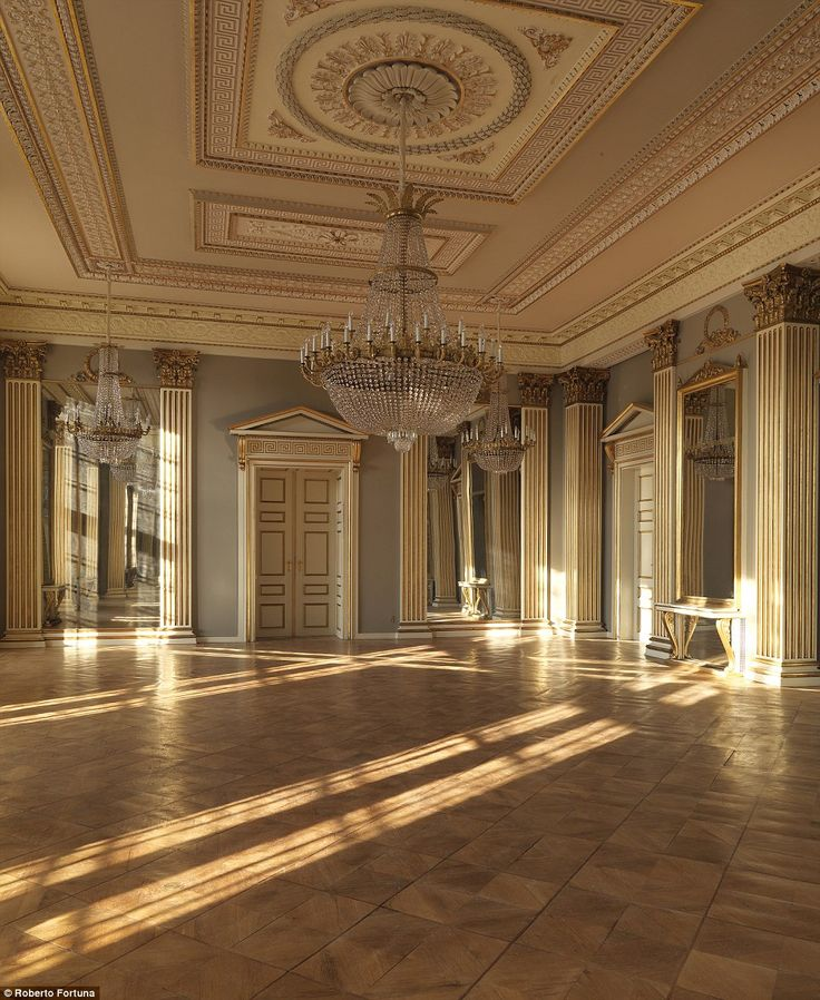 Pictured is the  banquet hall in Amalienborg, featuring beautiful crystal chandeliers and gold detailing on the doors and ceiling