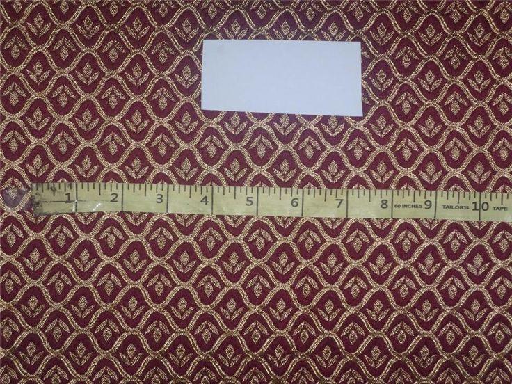 "Brocade Fabric Aubergine x Gold Color 48"""