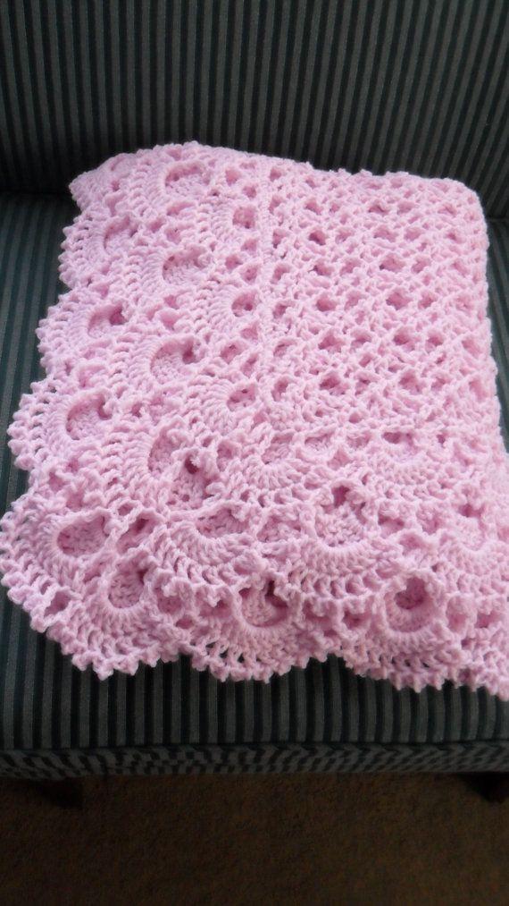 "Ganchillo afgano - colcha - tirar - manta - colcha - XLarge ""SHELLS abundancia"" en color rosa Pastel"