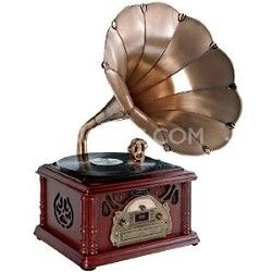 Pyle PTCDS3UIP Classical Trumpet Horn Turntable with AM/FM Radio CD/Cassette/USB & Di