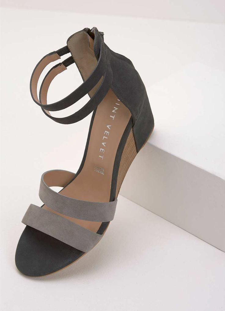 IRIS GREY WEDGE STRAP SANDAL | Mint Velvet