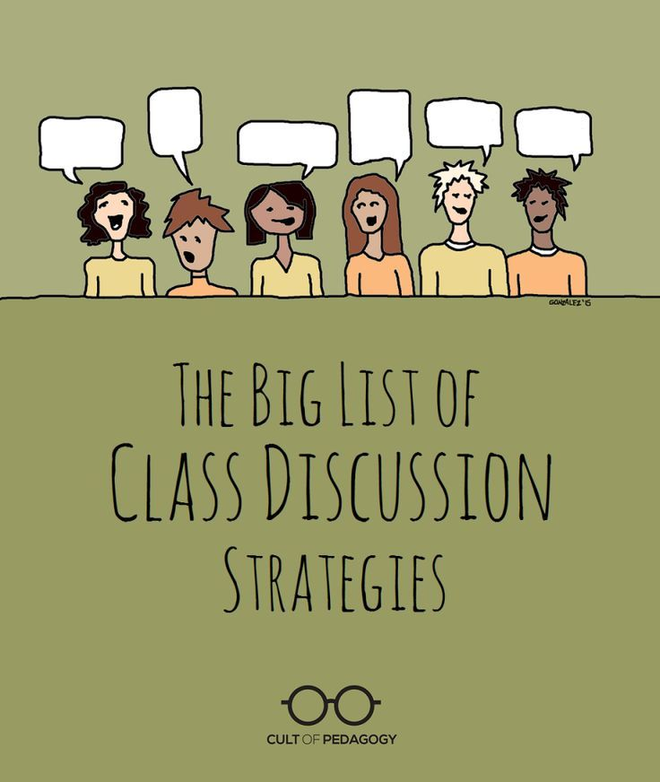 The Big List of Class Discussion Strategies - Here they are: 15 formats for structuring a class discussion to make it more engaging, more organized, more equitable, and more academically challenging.