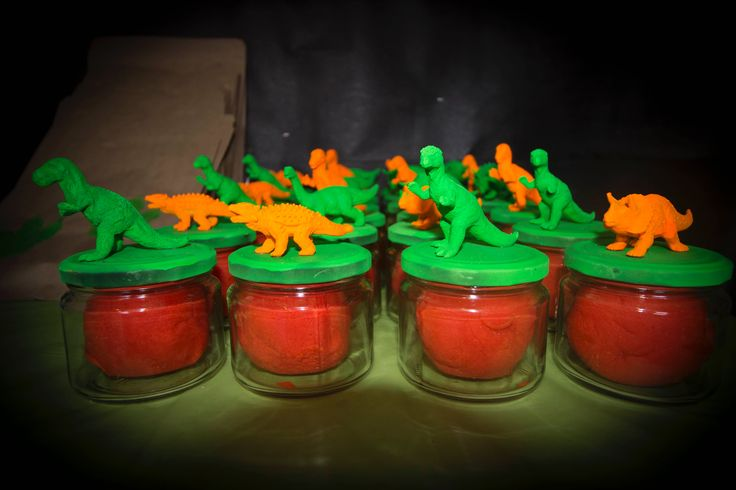 Dinosaur party - favours for goody bags - homemade playdo