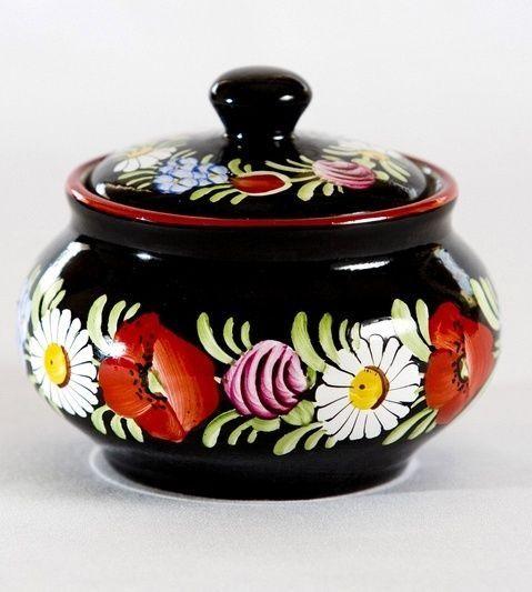 Krásná ručně malovaná cukřenka z Chodské keramiky