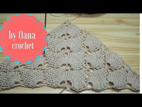 YouTube - Oana tarafından shawl- Tığ Yaprak dikiş üçgen eşarp /