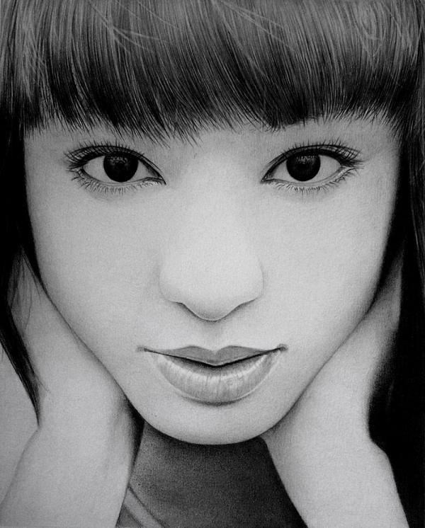 chiaki kuriyama   close up by  ken lee - Pencil Drawings by Ken Lee  <3 <3