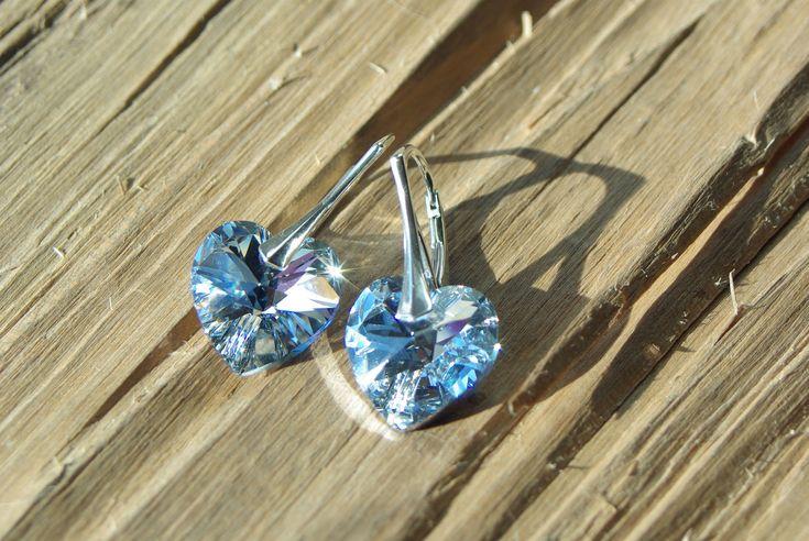 Swarovski Heart Earrings Swarovski Crystal CAL Earrings Swarovski Drop Earrings Sterling Silver Crystal Wedding Bridal Bridesmaid Earrings by AuroraCrystalPassion on Etsy