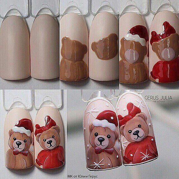 мастер-класс, новогодний дизайн ногтей