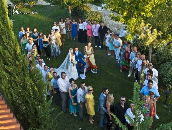 the bride the groom and the friends!!! Ktima Likno